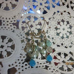Costume Jewelry Blue beaded pierced earrings